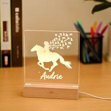 Изготовленный На Заказ Верховая езда ночной Светильник деревянная