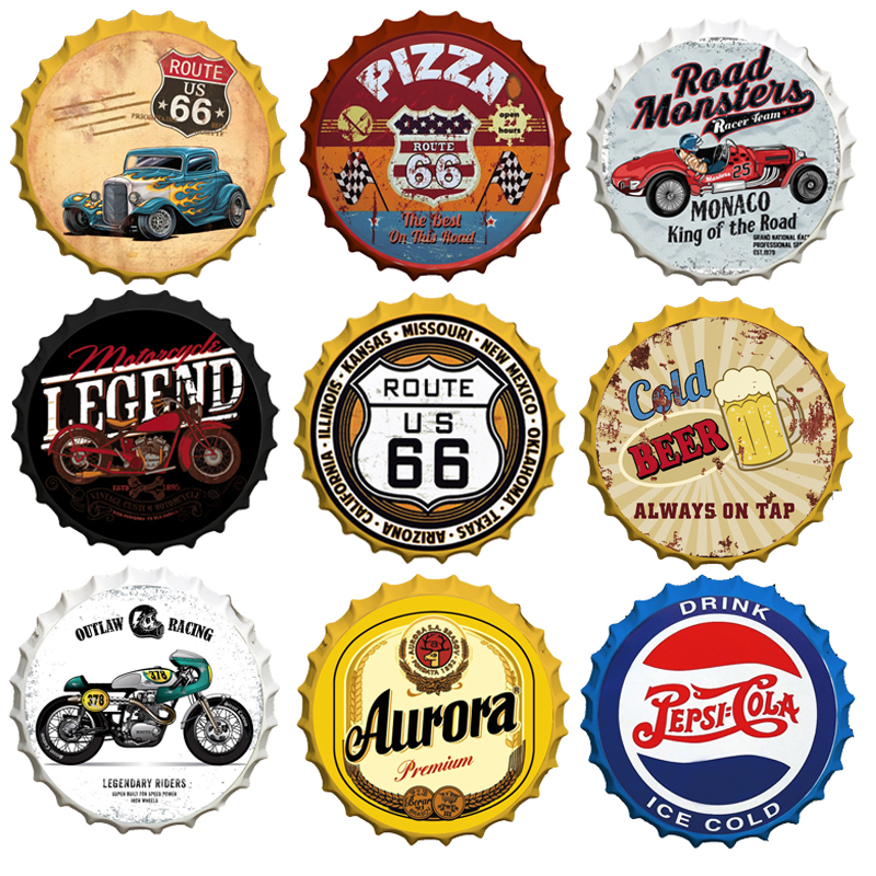 Vintage Route 66 Car Motor Tin Sign Wine Beer Cap Signs Bar Garage Round Art Decor Plaques Metal Plate Hanging Crafts Customized