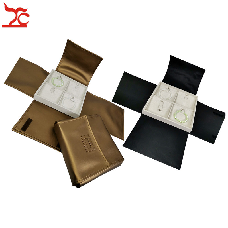 New Square Velvet Jewelry Display Tray With Gold Black PU Cover 4 Grids Bracelet Bangle Storage Holder Travel Carrying Case Bag
