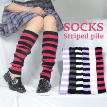 Полосатые вязаные длинные носки в японском стиле женские уличные