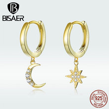 BISAER 925 Sterling Silver Luminous Cubic Zircon Moon & Star Women Stud Earrings Jewelry And GXE785