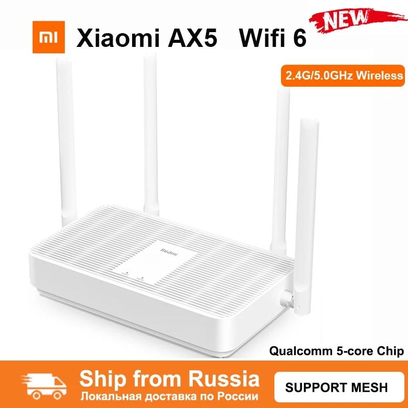 Роутер Xiaomi Redmi AX5, Wi-Fi 6, гигабитный, 2,4/5,0 ГГц, двухдиапазонный беспроводной роутер, Wi-Fi ретранслятор, 4 антенны с высоким коэффициентом усилени...