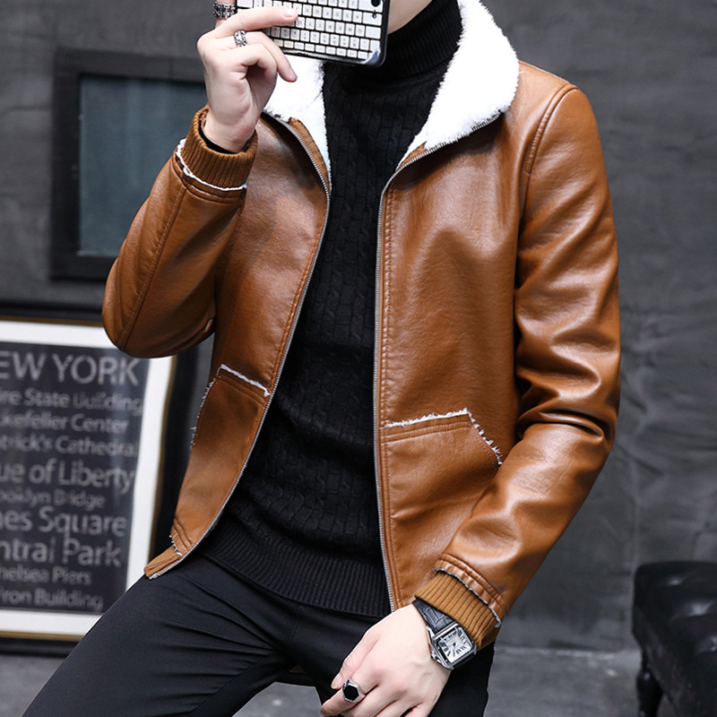 Autumn And Winter Men One-piece Leather Coat Men's Korean-style Slim Fit Short Jacket PU Leather Jacket Plus Velvet Stand Collar