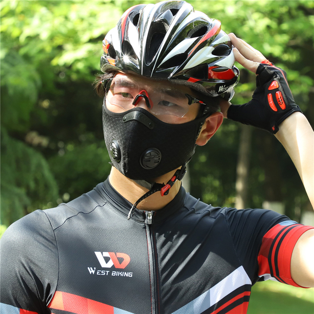 WEST BIKING Sports Cycling Face Mask PM2.5 Anti-pollution Activated Carbon Half Face Shield Washable Mask With Filter Men 4