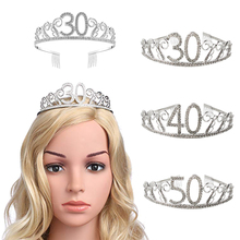 30th Birthday Party Decorations Adults 30 40 Anniversary Princess Crown Hair Band Girl Rhinestone Crystal Headband