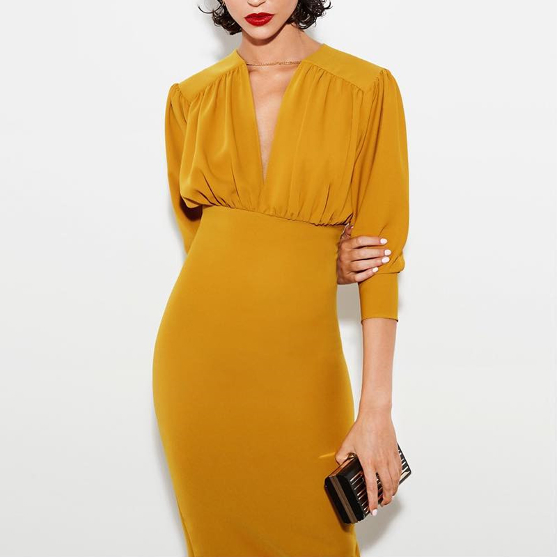 Image 4 - Turmeric Elegant pleated midi dress women 2019 Autumn Party yellow bodycon ladies dress Plus size high waist winter dress new-in Dresses from Women's Clothing