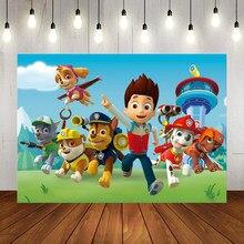 Correndo cães céu azul dos desenhos animados pano de fundo fotografia ryde patrulha da família crianças festa de aniversário foto fundo para a decoração da mesa