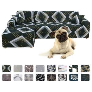 Sofa-Cover-Set Chaise Pets-Corner Geometric Elastic Living-Room L-Shaped Printed