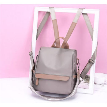 Women's Waterproof Solid Vintage Backpack Bag Cool Contrast Color Anti-Theft Retro Backpack Leisure Korean Style Rucksack Bags