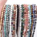 Natural Dull Polish Matte Stone Agates Turquoises Hematite Amazonite Beads For Jewelry Making Bracelet Round Loose Beads 4-12mm