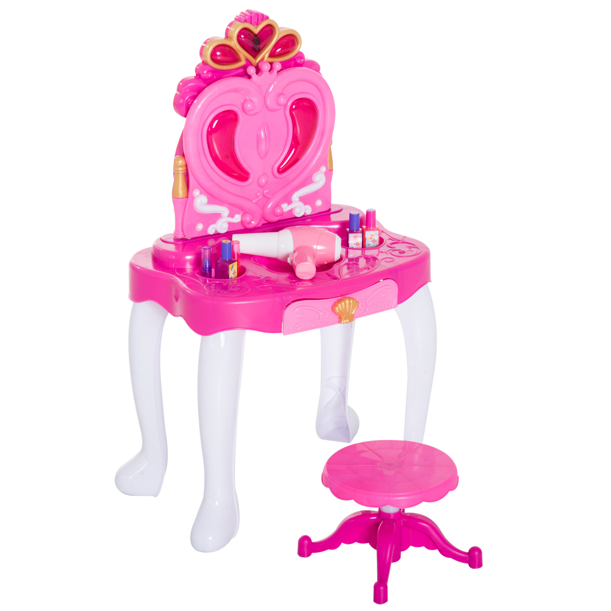 HOMCOM Makeup Table With Stool Dressing Table For Baby Girl With Lights And Music 43.5x31.5x72.5 Cm Pink