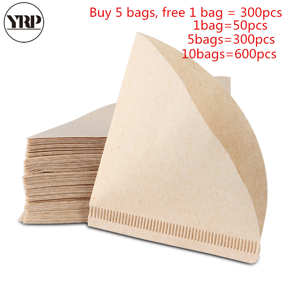 YRP50Pcs V60 Coffee Filter Papers Unbleached Original Wooden Drip Paper Cone Shape Espresso Coffee Brew Kitchen Accessories Tool