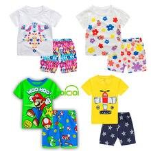 子供のパジャマ服動物マリオベビーパジャマセットクリスマス綿半袖ホームウェア子供の服