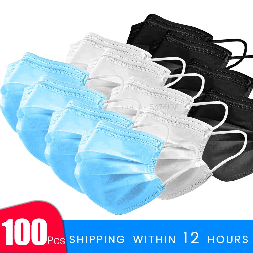 Fast Delivery Safety Face Mask 100 Pcs Safe Masks Disposable Mouth Masks 3 Layer Elastic Earloop Protect Masks 12-24 Hours Shipp