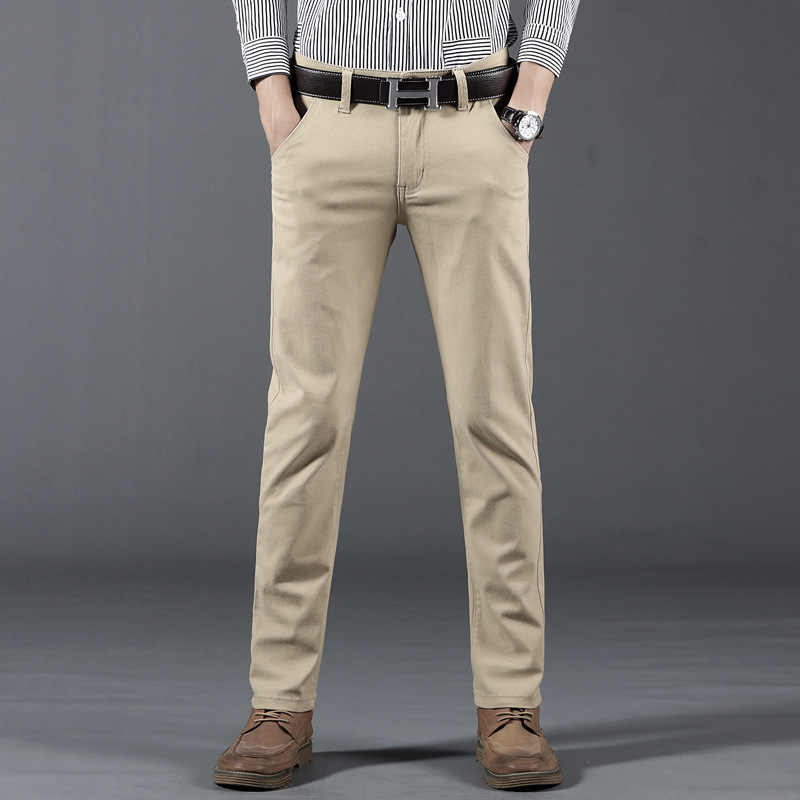 Men's Pants Slim Fit Casual Trousers Large Size Cotton Fashion Men's Business Suit Pants Plaid Black Blue Grey Khaki Cotton