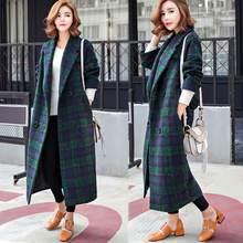 Пальто в клетку для женщин новая зимняя одежда Корейском стиле