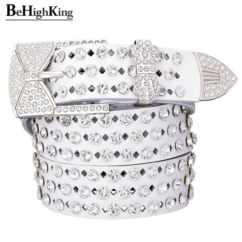 Fashion Shining Rhinestone Genuine Leather Belt Female Silver Butterfly Pin Buckle Belts For Women Quality Waistband Width 3.3cm