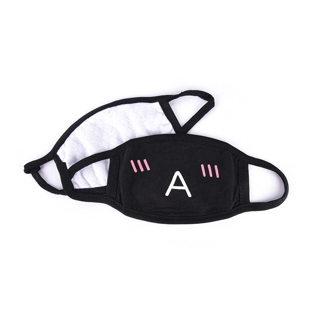 1PCS Schwarz Frauen Männer Anti-Staub Baumwolle Nette Bär Anime Cartoon Mund Maske Kpop zähne mund Mode Muffel gesicht Mund Masken