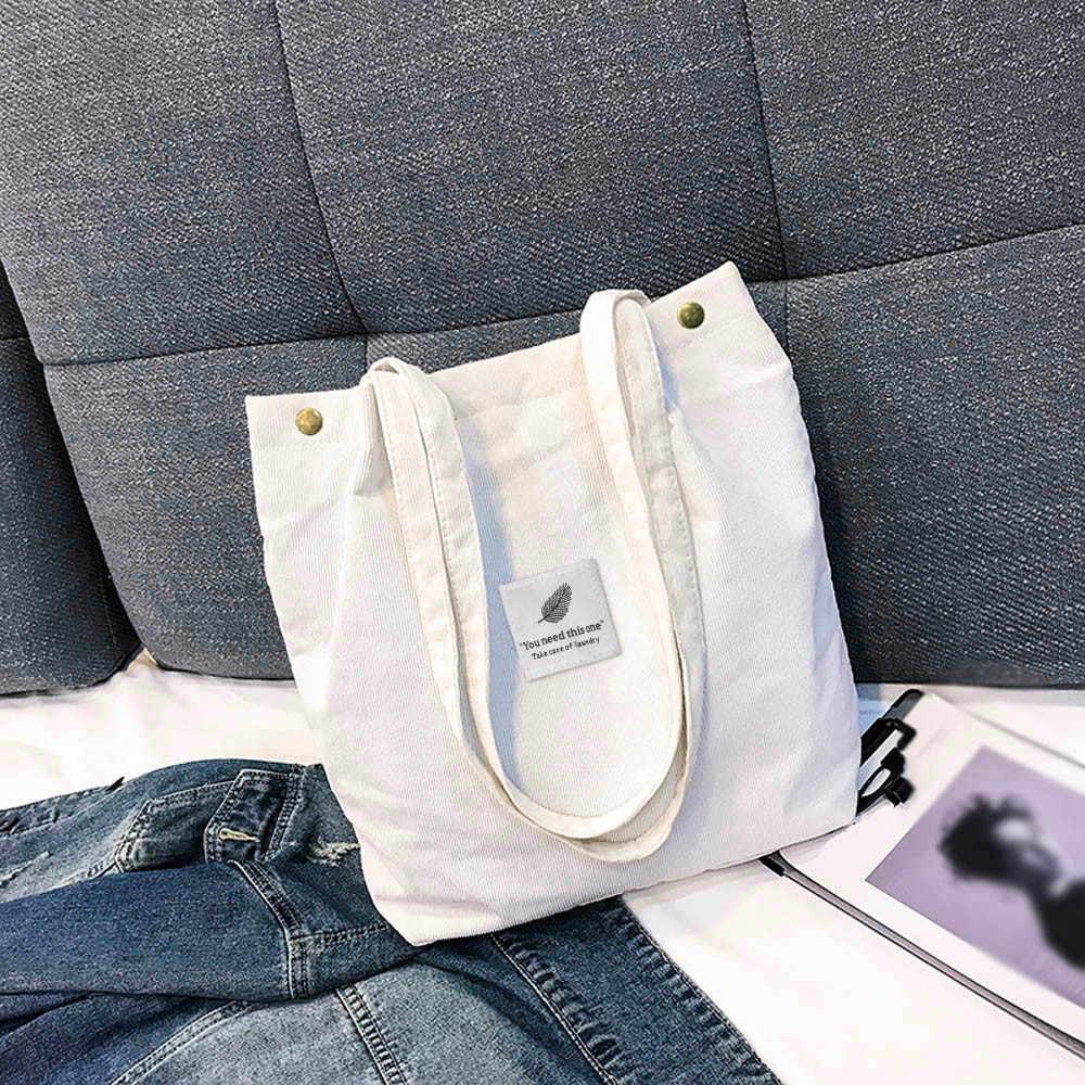 # H40 Fashion Shopper Tas untuk Wanita Korduroi Warna Murni Tas Bahu Tas Travel Jinjing Tas Tangan Kapasitas Besar Tas Tangan bolsas