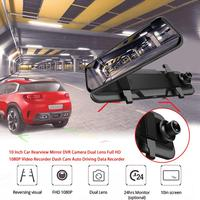 10 Inch Car Dvr Camera Full IPS Screen Touch Front Rear Double Recording Rear View Mirror 1080p HD Night Vision Car Recorder