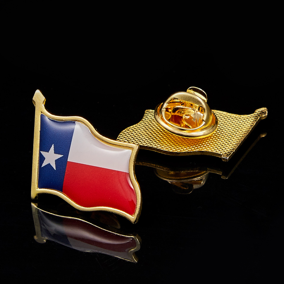 USA Texas State Multicolor Butterfly Clip Flag Lapel Pin Brooch Badge Patriotism