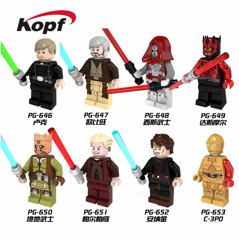 Single Sale Building Blocks Wars C3PO Jedi Knight Darth Maul Sith Warrior Luke Skywalker Obi-Wan Model Toys For Children PG8021
