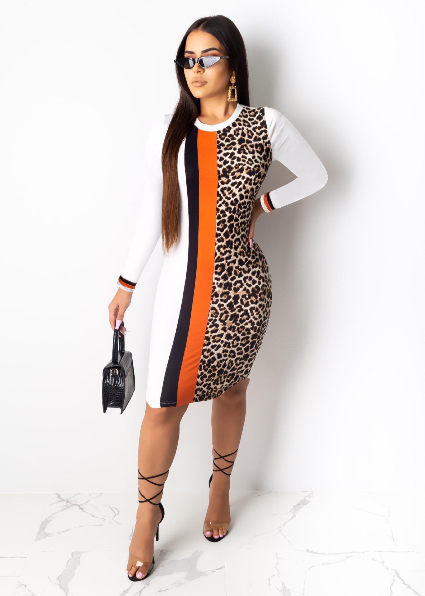 African Dashiki Sexy Bodycon Party Women Long Sleeve Leopard Print Autumn Sheath Elegant Autumn Mini Dress Vestidos Robe Femme