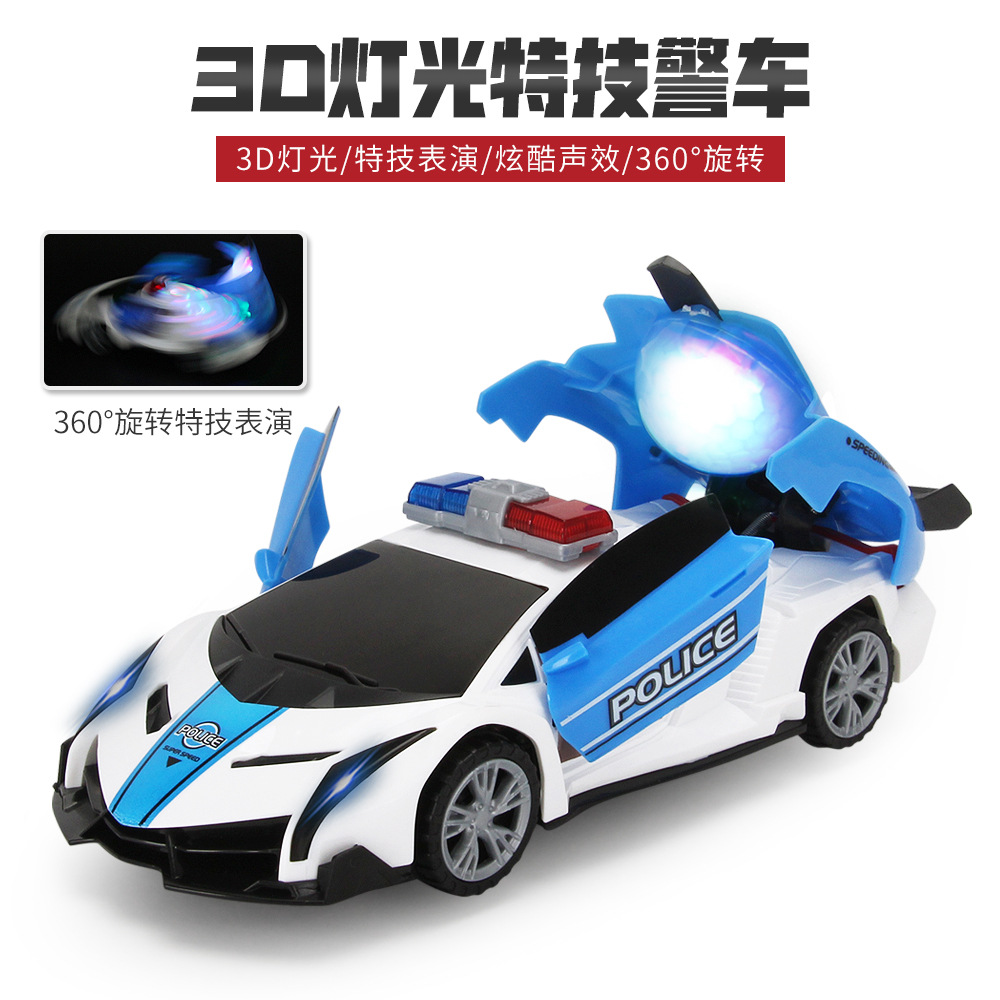Mining Hot Selling Stunt Electric Universal Automatic Transformation Police Car 360 ° Rotating Music Light CHILDREN'S Toy