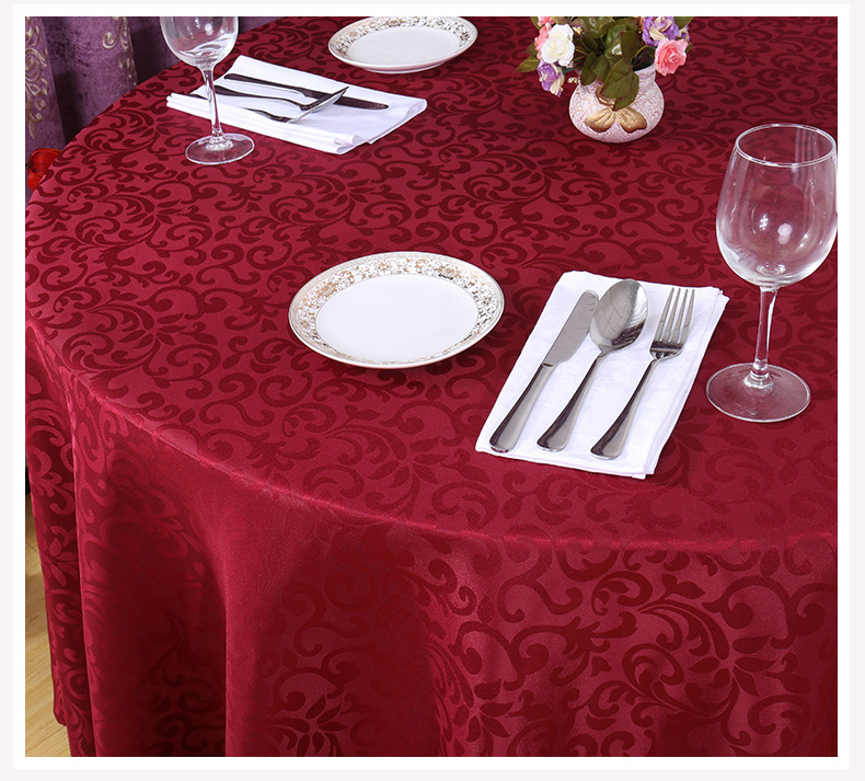 Polyester Jacquard Tablecloth Hotel Wedding Banquet Party Decoration Round White Table Covers Table Overlays Printed Home Decor