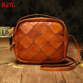 Handmade small Shoulder Crossbody bag Women's Leather handbags Cowhide leather Mini Vintage Distressed Stitching Square Bags