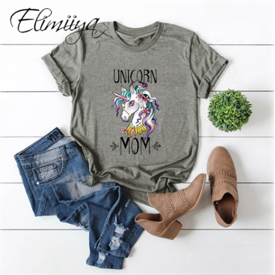 Elimiiy Animal Print T Shirt Women's Unicorn Funny Tshirt Short Sleeve Harajuku Top Tee Plus Size T-shirts For Women 4xl 5xl