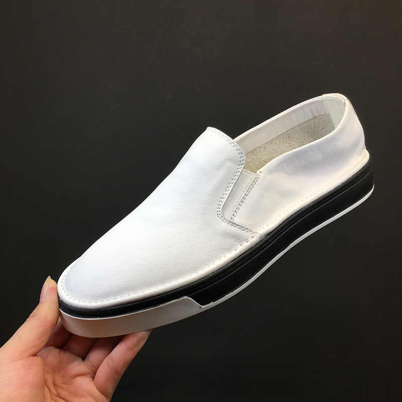 Thời Trang Cho Nữ Giày Nam Da Thật Chính Hãng Da Sneaker Thoáng Mát Cho Mùa Hè Chắc Chắn Trắng Đen Bằng Giản Giày Dép