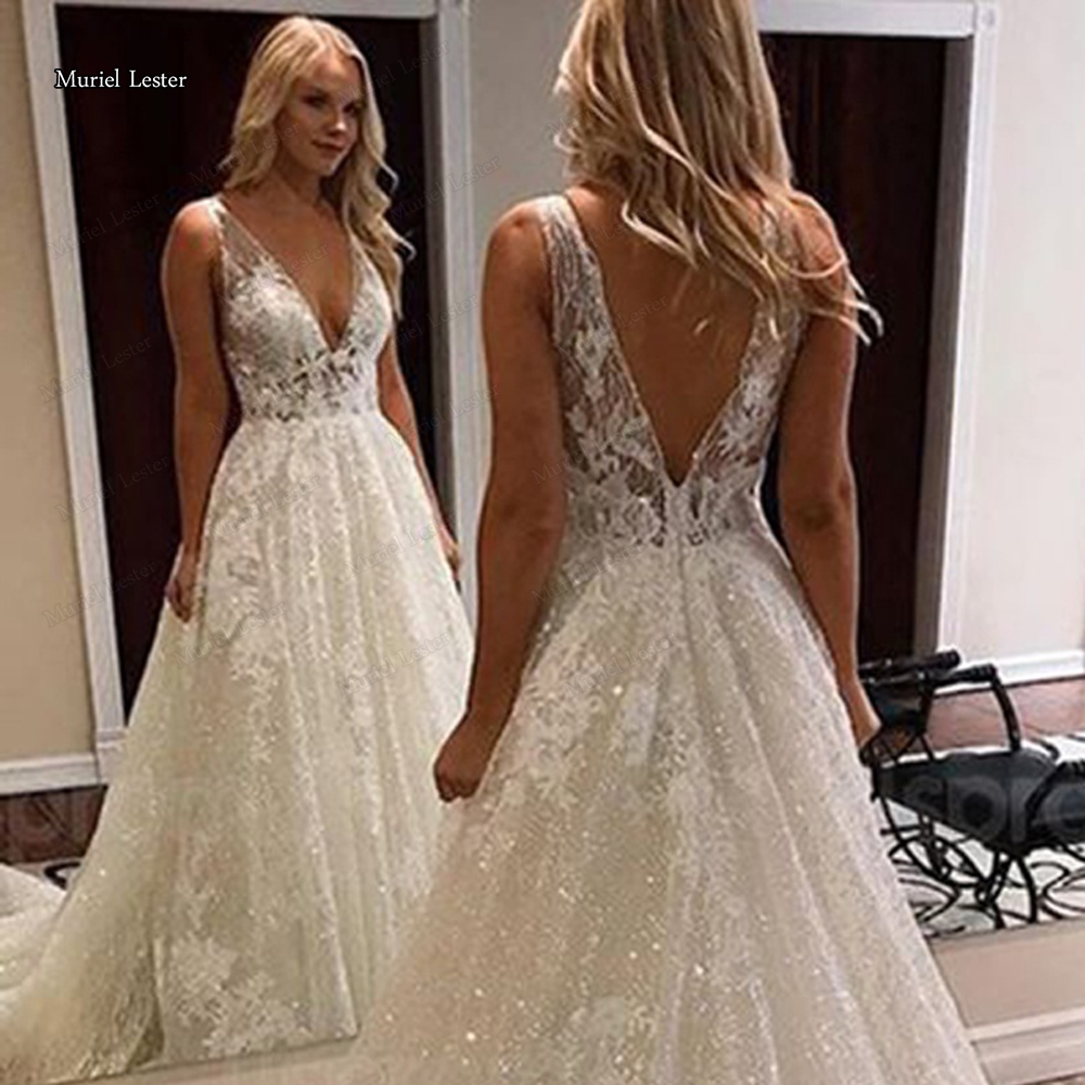 Sparkly Glitter Sequins Lace Wedding Dress 2020 Appliques A Line Luxurious Sexy Open Back Women Deep V Neck Bridal Dresses