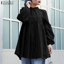 Fashion Muslim Tops Women's Spring Solid Blusas ZANZEA 2021 Female Elegant Puff Sleeve Ruffle Lace Up Button Blouse Plus Size