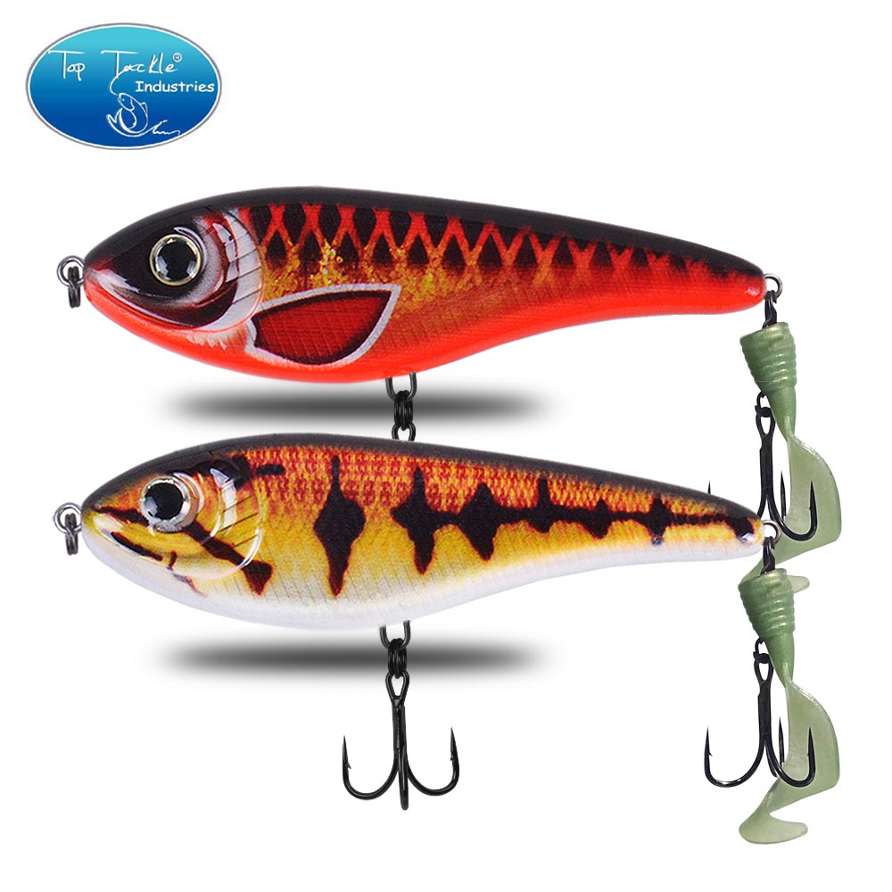 CF Lure 90 120 150mm (Color1~23) Slow Sinking Jerkbait Soft Tail Pike Slide Musky Bass Fishing Lure Tackle