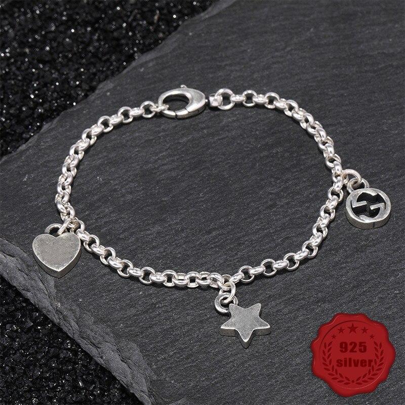 100% S925 argent sterling bracelet personnalité simple bijoux rétro mode étoiles coeur forme étudiant 2019 offre spéciale Bracelets