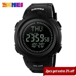 Image 2 - Skmei Outdoor Sport Horloge Mannen Kompas Countdown Horloges 5Bar Waterdichte Multifunctionele Digitale Horloge Relogio Masculino 1231