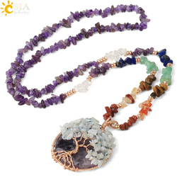 CSJA Natural Chips Stone Reiki Chakra Long Necklaces Tree of Life Wire Wrap Pendants for Women Men 2020 New Fashion Jewelry G378