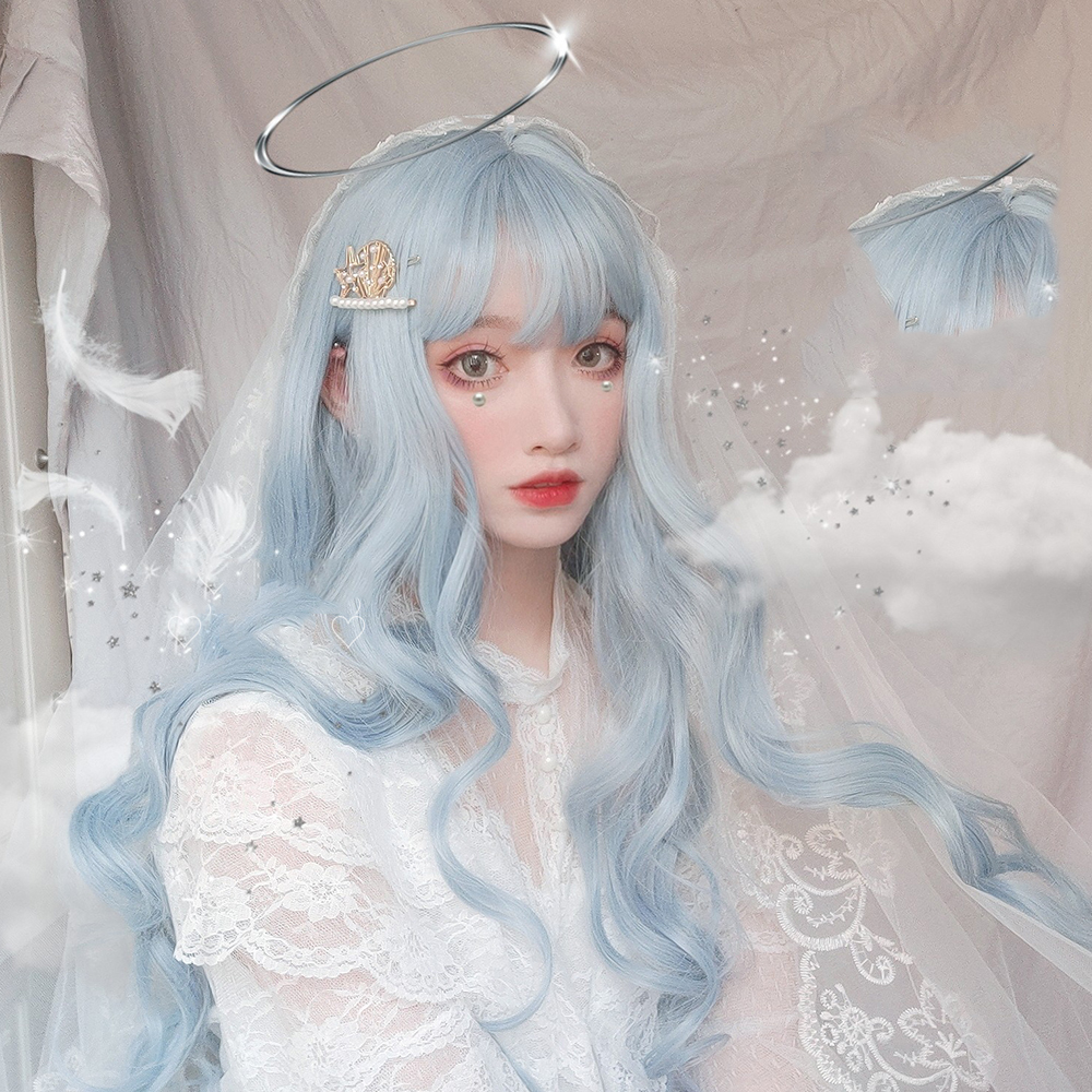 MANWEI Lolita 70CM Long Curly Blue Ombre Heat Resistant Bangs Cute Party Synthetic Cosplay Wig