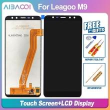 Aibaoqi 새로운 원본 5.5 인치 터치 스크린 + 1280x640 lcd 디스플레이 어셈블리 교체 leagoo m9 안 드 로이드 7.0 mt6580a 전화