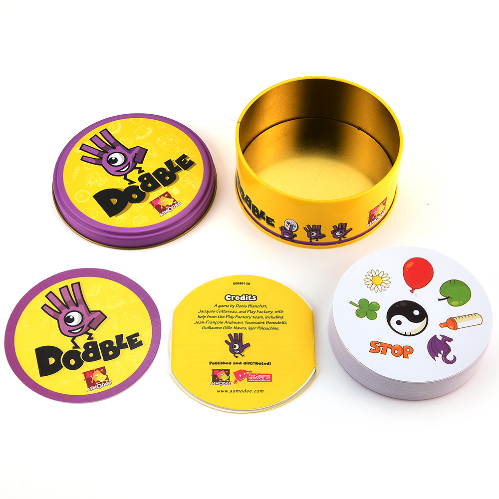 Dobble Spot It Toy Iron Box 55 Cards Sport Fun Family Animals Jr Hip Kids Board Game Gift Holidays Camping 123 Tin Gift Box 4