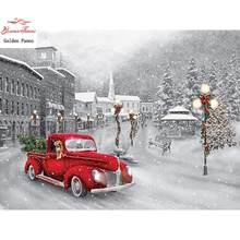 Pintura de diamante de diamante quadrado cena de inverno borda ponto cruz decoração de natal