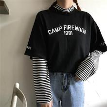 Womens T-shirts Tunic Kawaii Ladies Vintages Triped Long Sleeve T-shirt Female Ulzzang Harajuku Tee For Women Casual Top