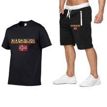 Набор мужской хлопок свободные футболка шорты спортивный костюм тренажерный зал фитнес одежда бег спортивные износ тренировки тренировки одевать