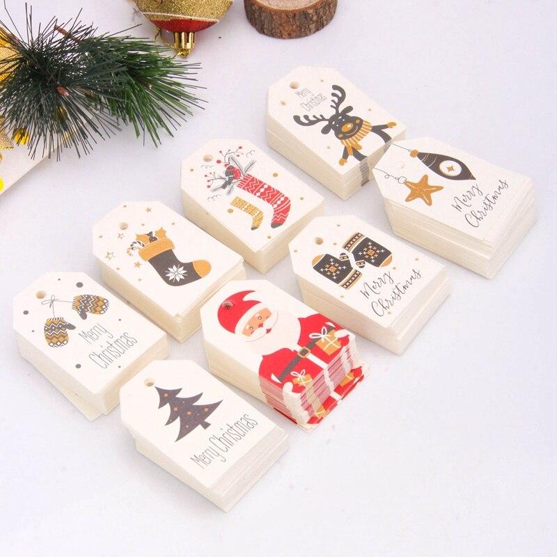 50 шт. DIY крафт-бирки Merry Christmas этикетки подарочная упаковка бумажные бирки Санта-Клаус бумажные открытки товары для рождественской вечеринки