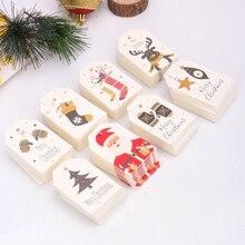 50 шт. DIY крафт бирки, рождественские этикетки, подарочная оберточная бумага, подвесные бирки, бумажные карты Санта Клауса, товары для рождественской вечеринки