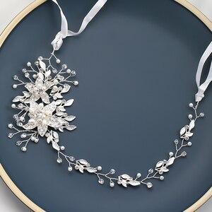 Image 3 - אופנה החדש אופנה חתונה כלה שיער אביזרי פרל ריינסטון מצנפות בגימור זהב כסף צבע שיער תכשיטי עבור נשים
