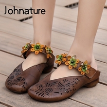 Flat Women Shoes Ladies Sandals Spring/summer Slippers Slides-Flower Outside Genuine-Leather