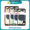 Full Housing for iPhone 8 8Plus Plus Back Glass Battery Cover Middle Frame Chassis with Flex Cable Assembly Replacement CE US