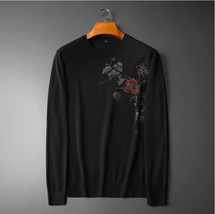 New 2019 Men Luxury Winter Hot Bee Bees Rose Embroidered Casual Sweaters Pullover Asian Plug Size High Quality Drake #M65